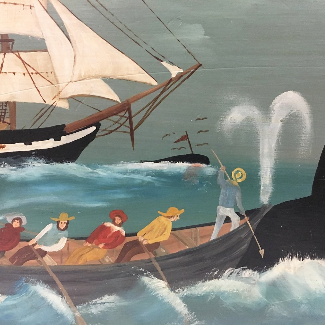 Nantucket Whaling scene painted blanket chest, signed - 7