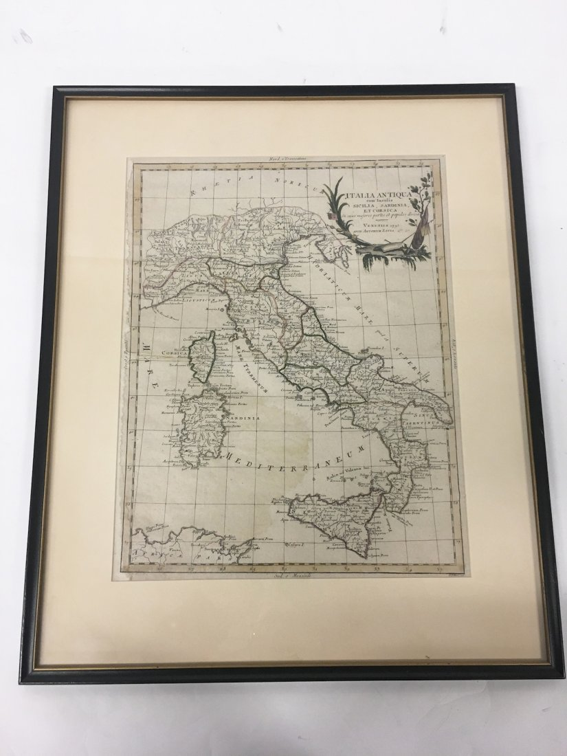 Map of Italy in the 1700s, framed