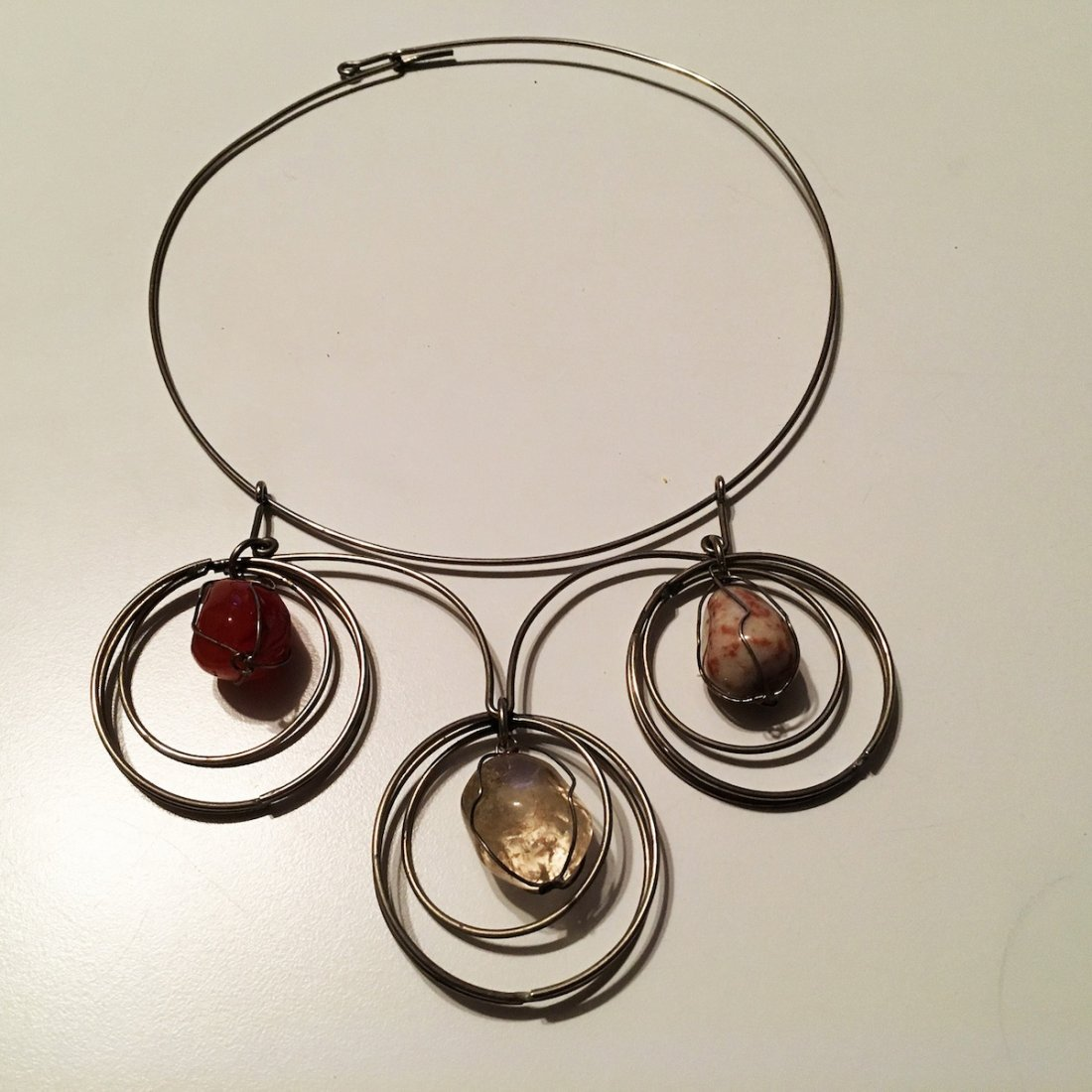 Wire caged Carnelian and Quartz Necklace