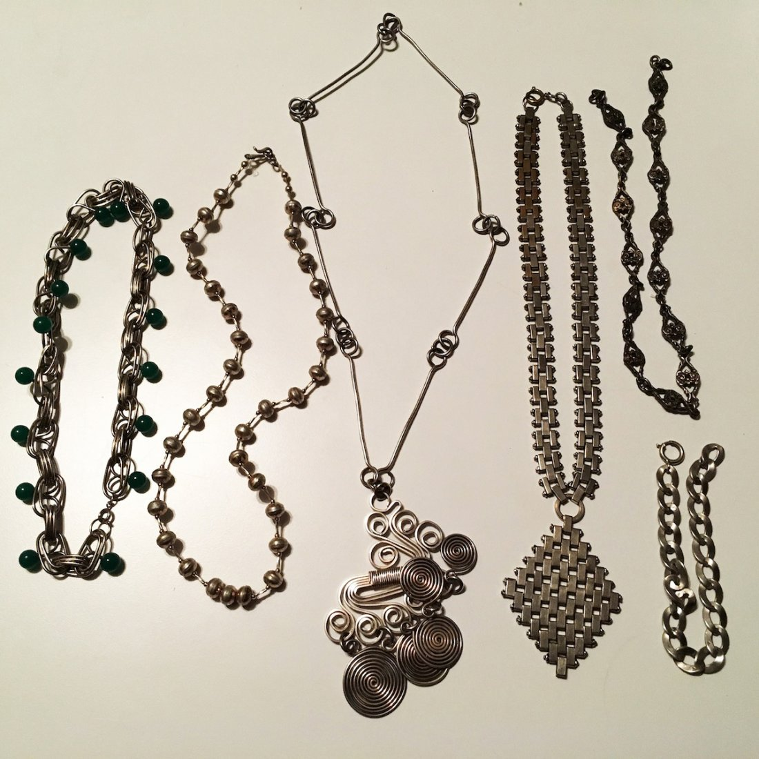 Necklaces, Original Art Silver jade beads