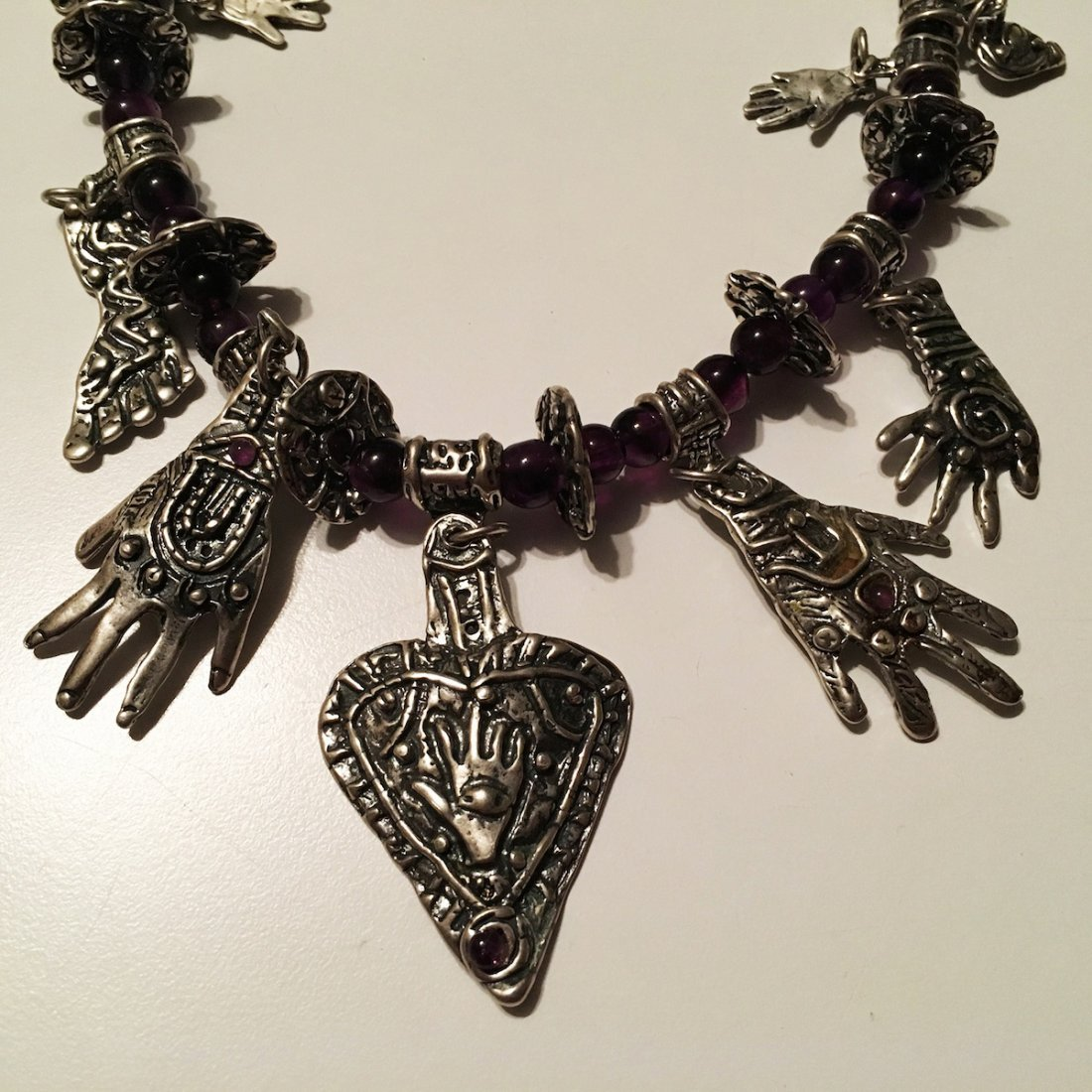 Signed Sterling Silver and Amethyst bead Fetish - 2