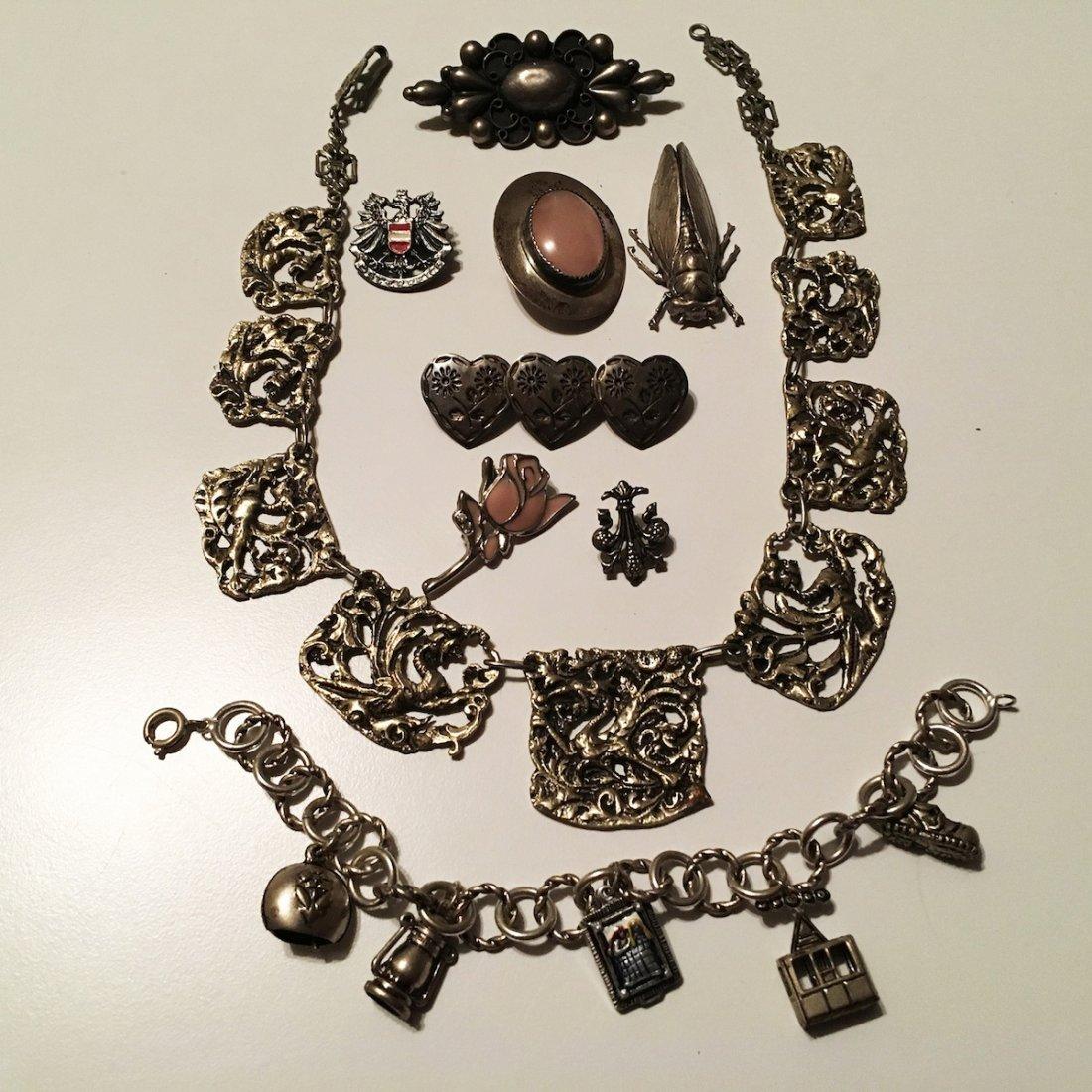 Silver Jewelry, Pins, Charm bracelet, Bug