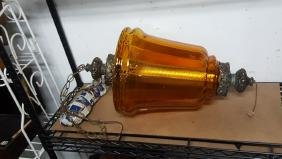 Blown Amber Glass Hanging Light