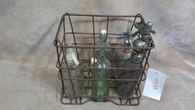 Metal Crate & Waters Bottles; Moxie, Schweppes