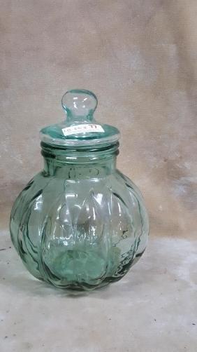 Green Tinted Glass Pumpkin Cookie Jar