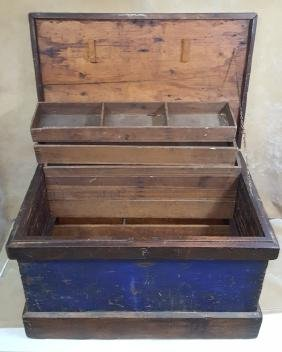 Antique American Wooden Trunk