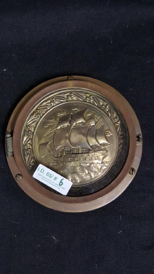 Bronze Port Hole with Embossed Sail Ship Inside