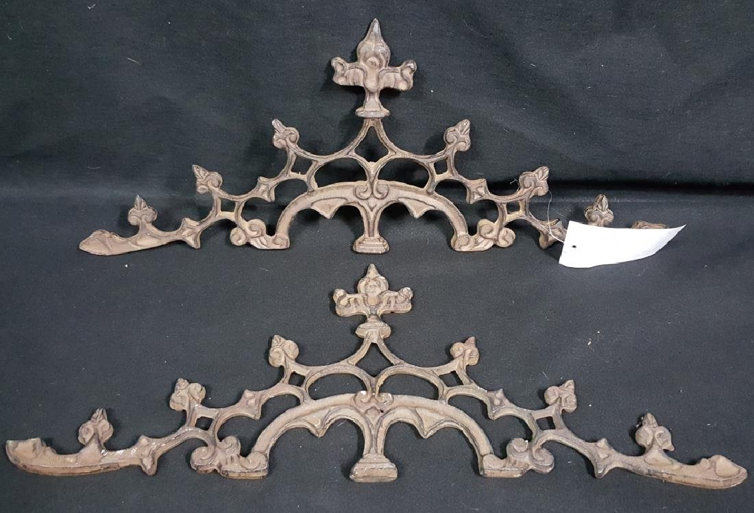 A Matching Architectural Pair; Cast Iron Pediments