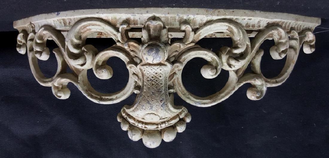 Architectural Cast Iron White Garden Shelf