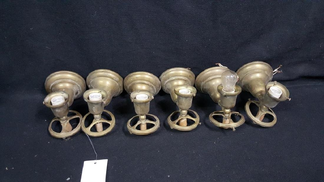 6 Industrial / School Architectural Brass Sconces