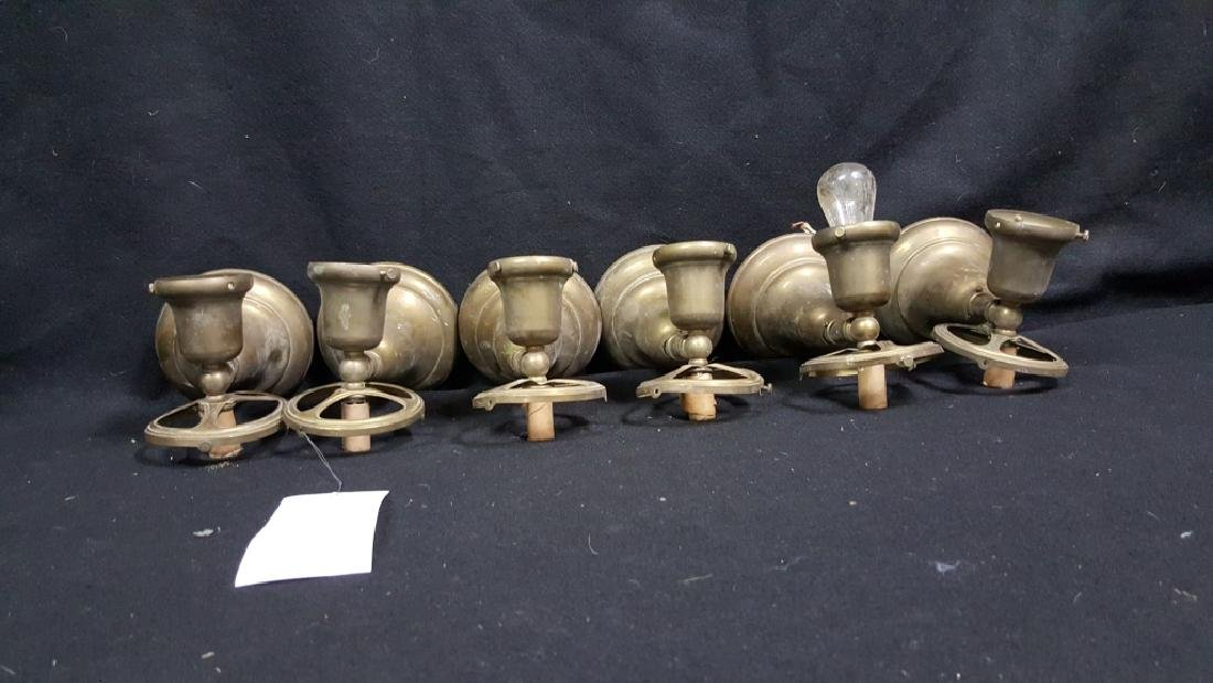 6 Industrial / School Architectural Brass Sconces - 2