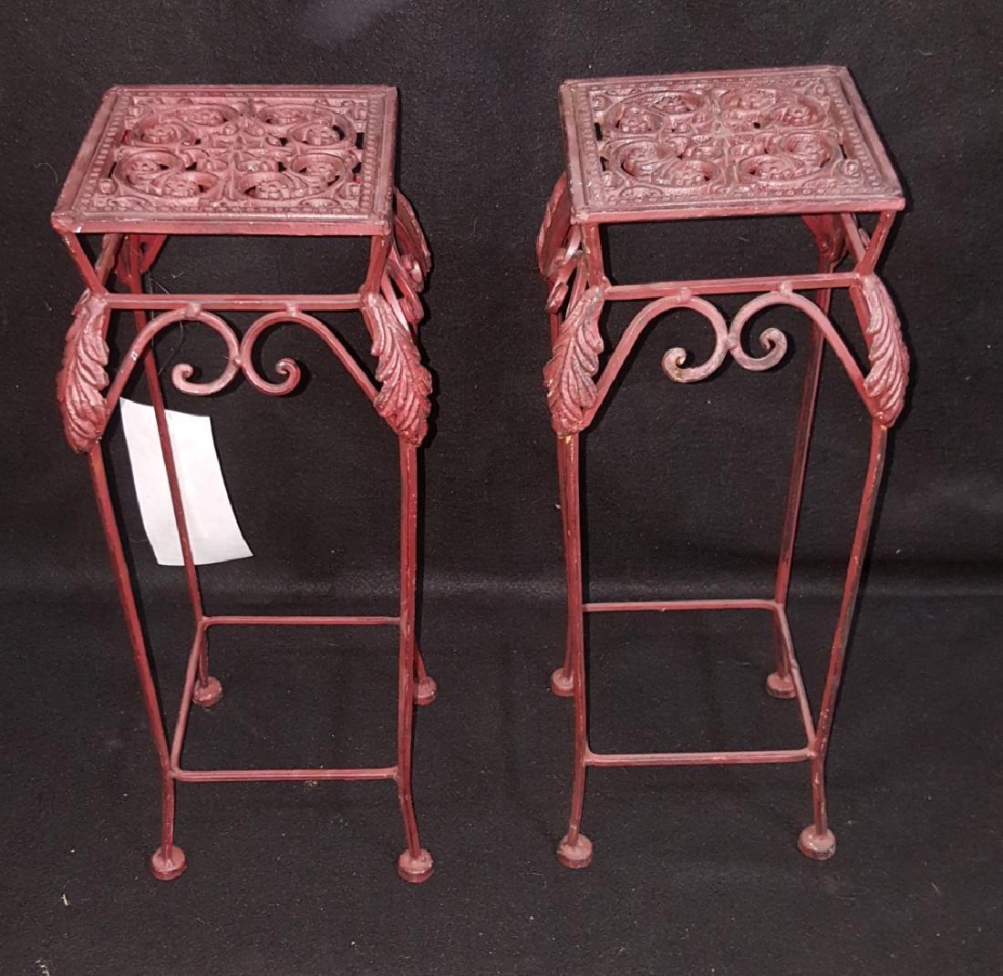 Pair of Matching Red Cast Iron Pedestals