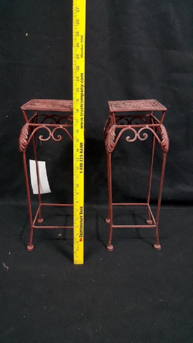 Pair of Matching Red Cast Iron Pedestals - 2
