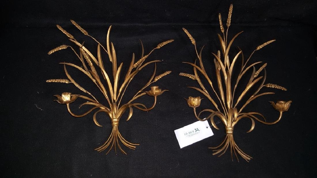 A Pair of Gilt Floral Wall Sconces