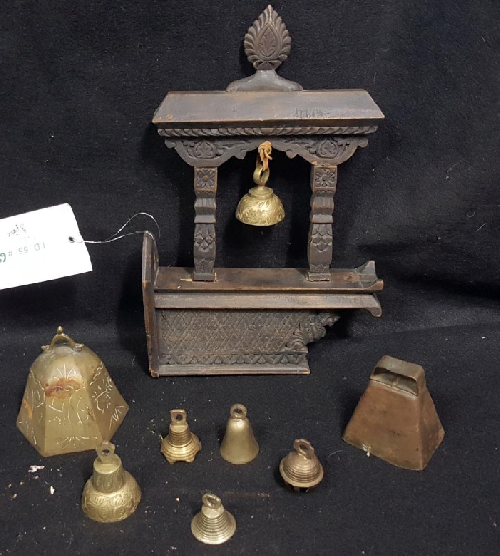 Hand Carved Chinese Wooden Bell Hanger & others