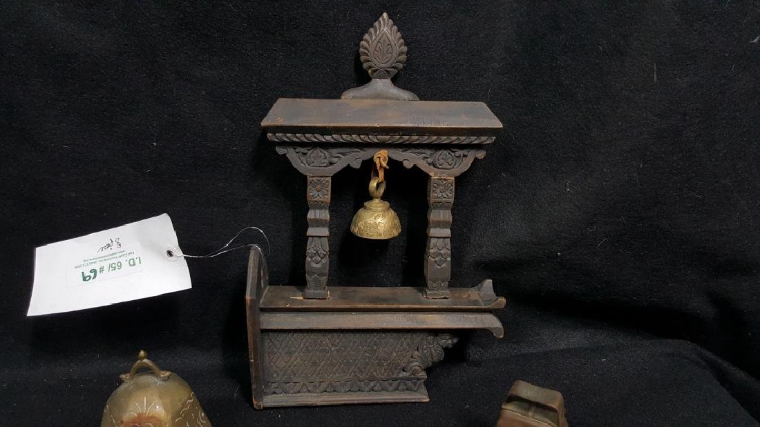Hand Carved Chinese Wooden Bell Hanger & others - 2