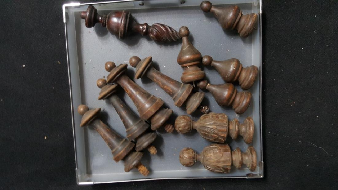 Collection of Hand Carved Wooden Finials