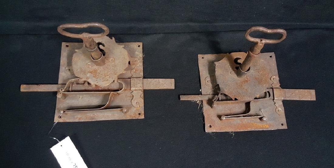 Pair of Large Wrought Iron Locks W/ Cast Iron Keys