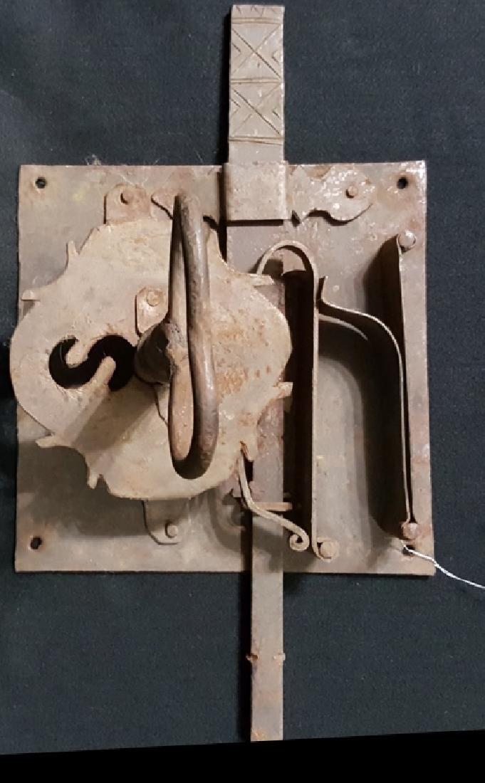 Pair of Large Wrought Iron Locks W/ Cast Iron Keys - 2