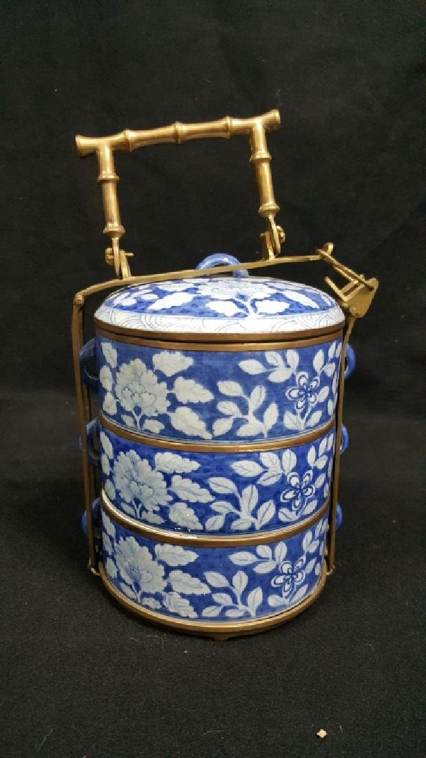 Chinese Blue & White Food Carrier W/ Bronze Handle
