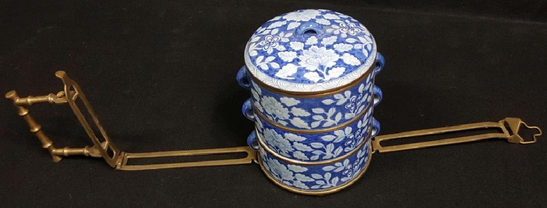 Chinese Blue & White Food Carrier W/ Bronze Handle - 3