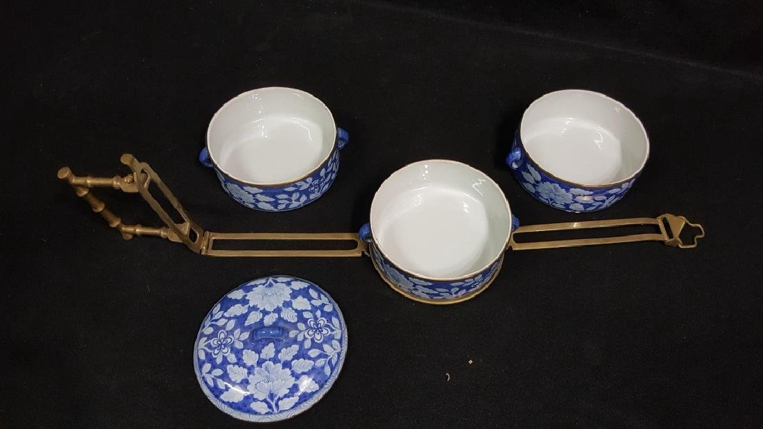 Chinese Blue & White Food Carrier W/ Bronze Handle - 4
