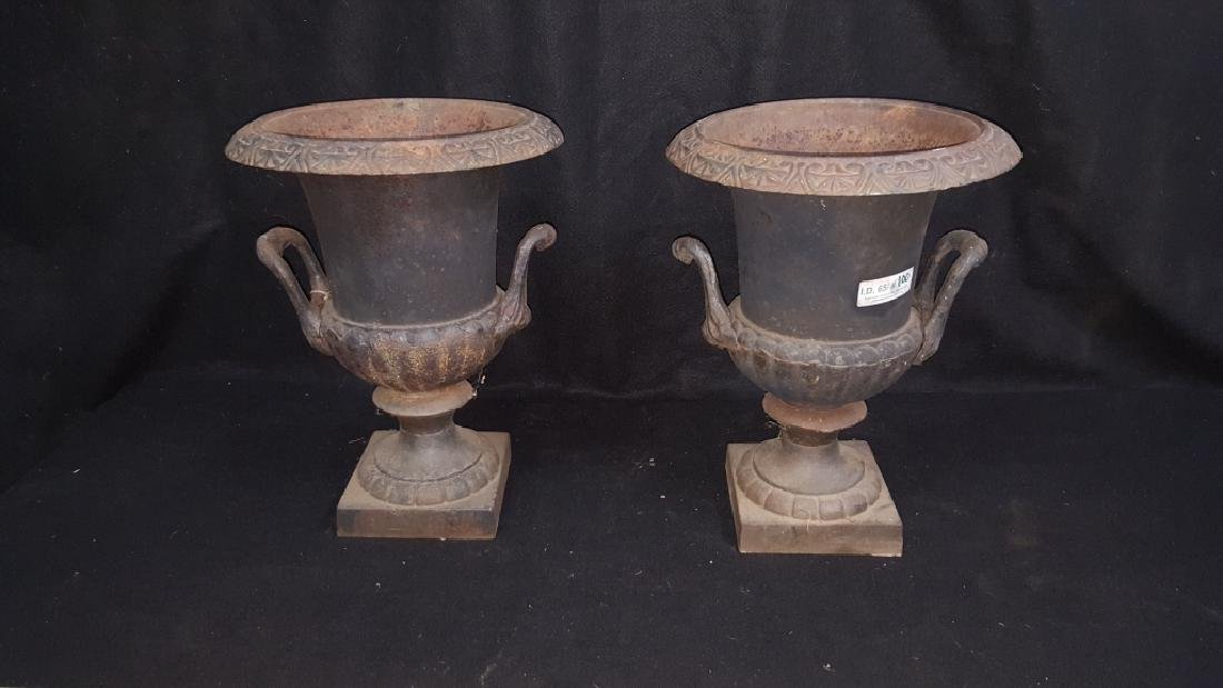 A Matching Pair of Cast Iron Urns - 2
