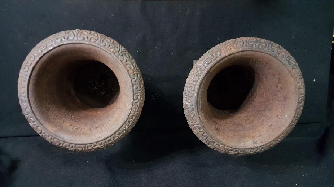 A Matching Pair of Cast Iron Urns - 4