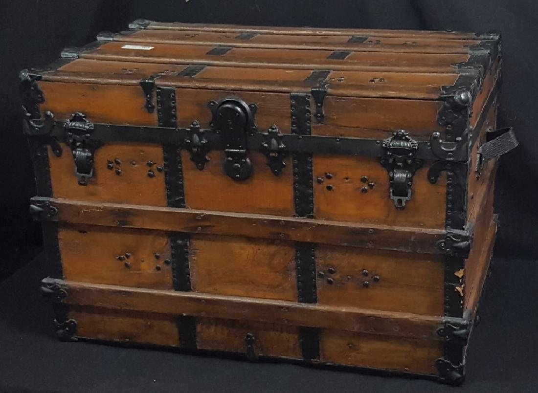 Antique Wood & Leather Bound Trunk