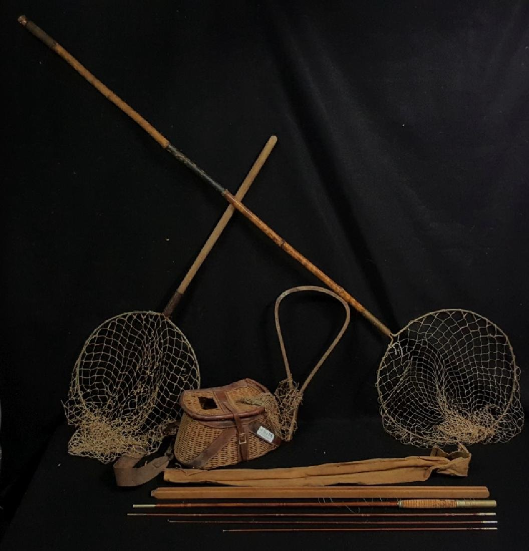 "Antique 104"" Bamboo Fishing Pole, Basket & Nets"