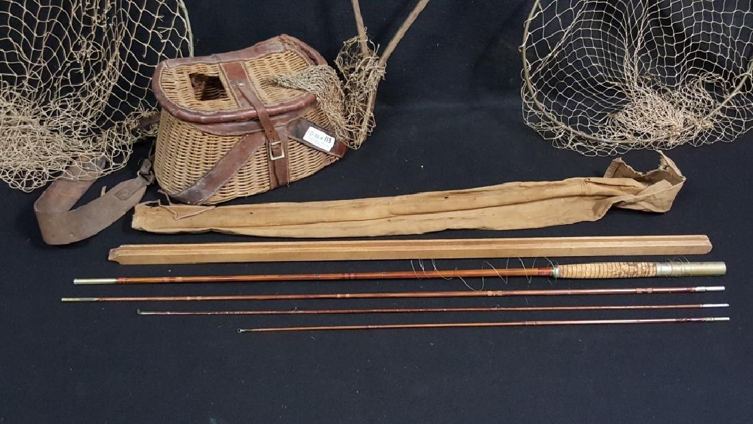 "Antique 104"" Bamboo Fishing Pole, Basket & Nets - 2"