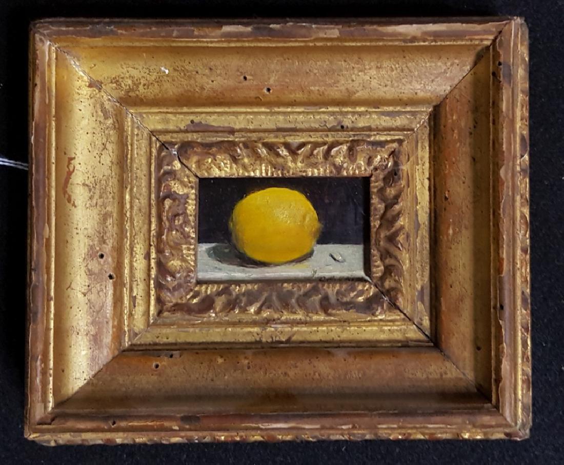 """Charles Yeiser """"Solitary Lemon"""" Oil on Board"""
