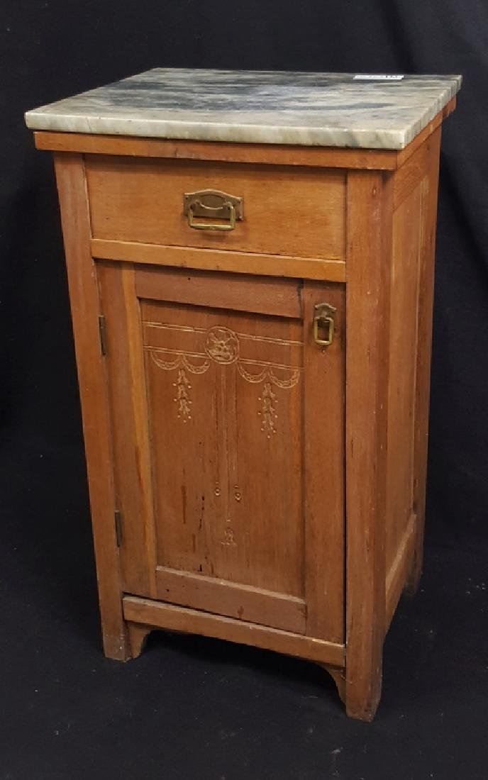 Marble Top Single Drawer Cabinet