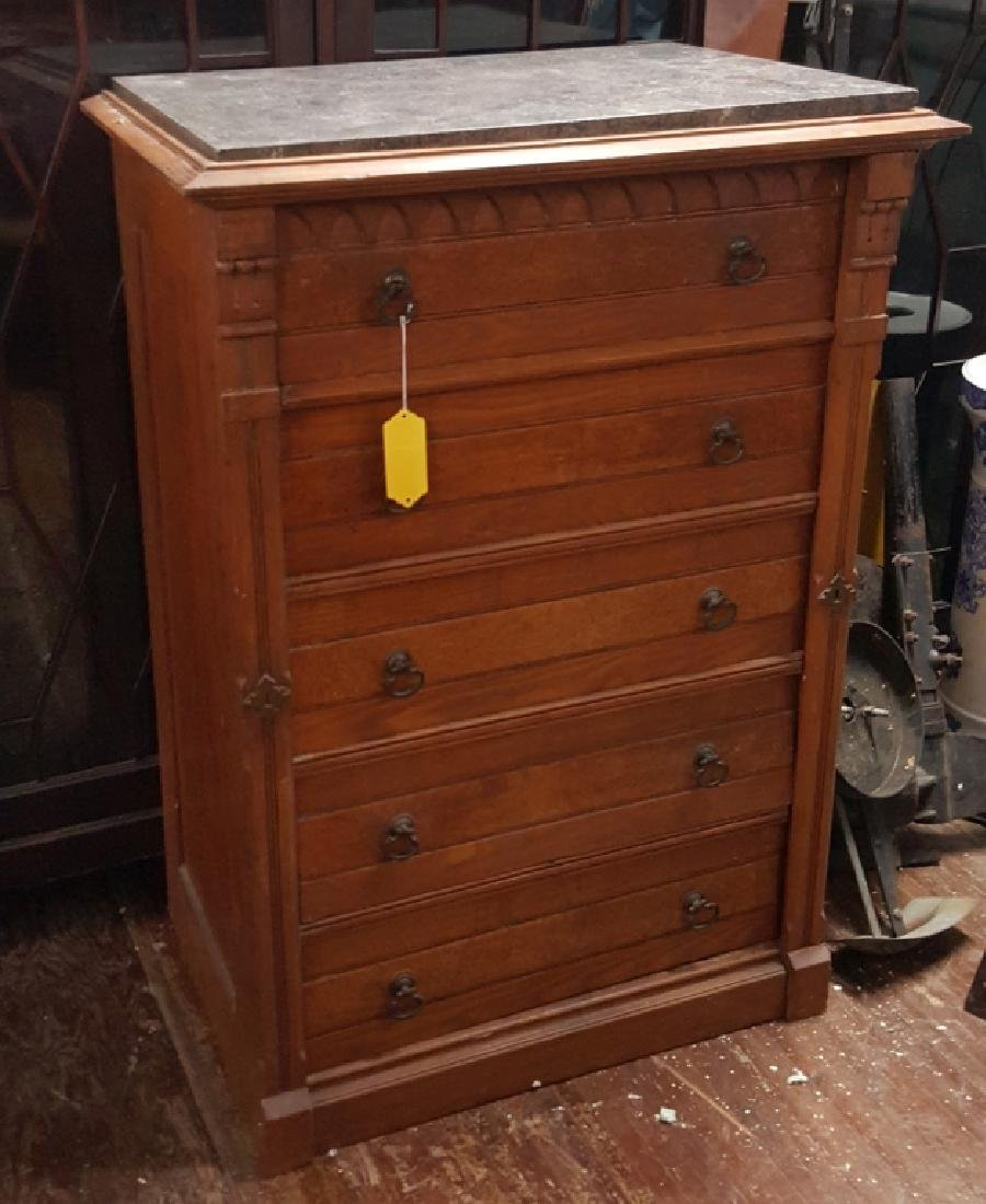 Marble Top Dresser With Side Lock Bar