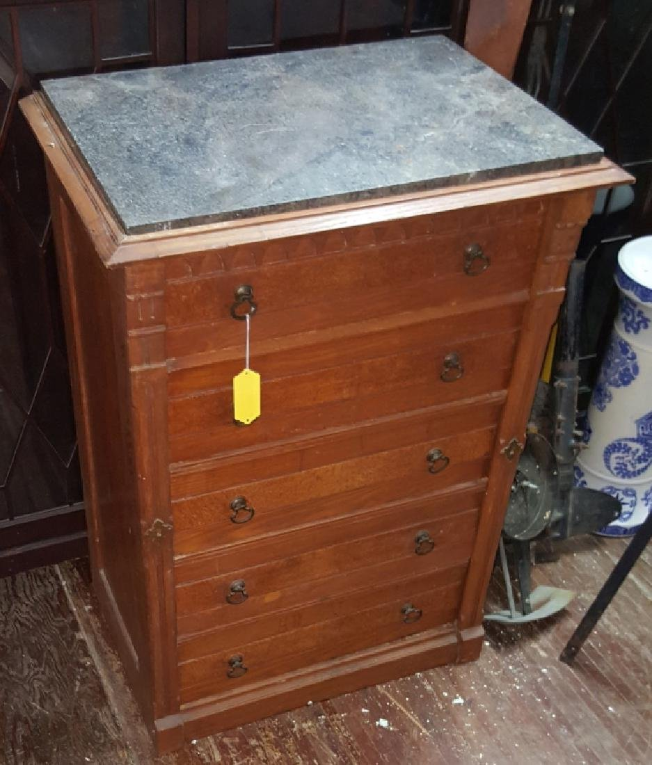 Marble Top Dresser With Side Lock Bar - 3