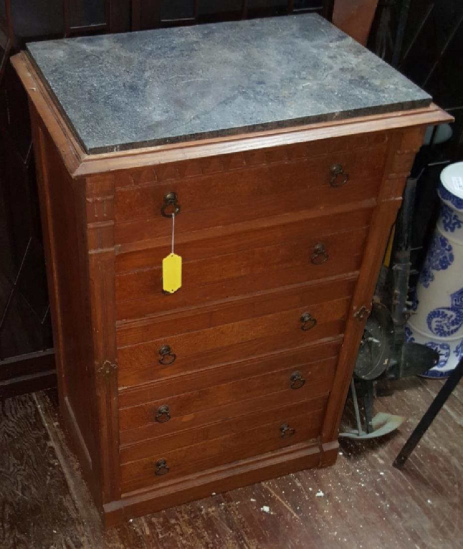 Marble Top Dresser With Side Lock Bar - 4