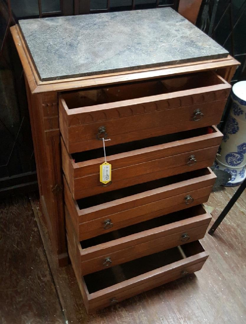 Marble Top Dresser With Side Lock Bar - 6