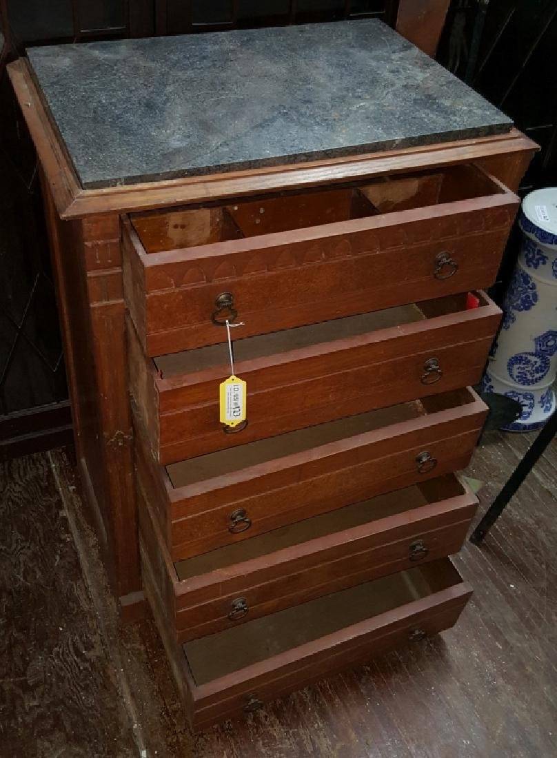 Marble Top Dresser With Side Lock Bar - 7