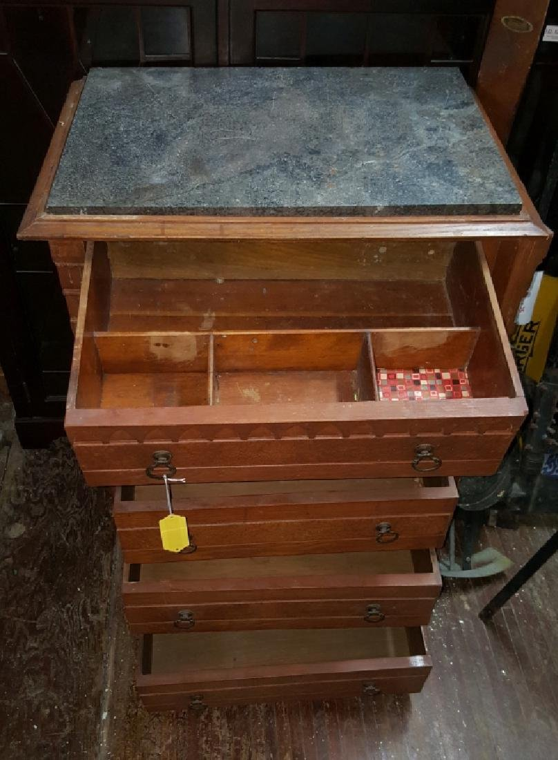 Marble Top Dresser With Side Lock Bar - 8