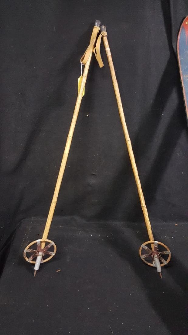 "Antique ""Oll Hickory"" Cross Country Skies / Poles - 2"