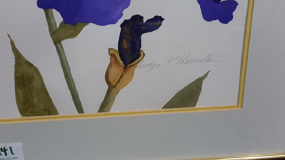 Carolyn Pascarella Watercolor of Iris Flowers - 2