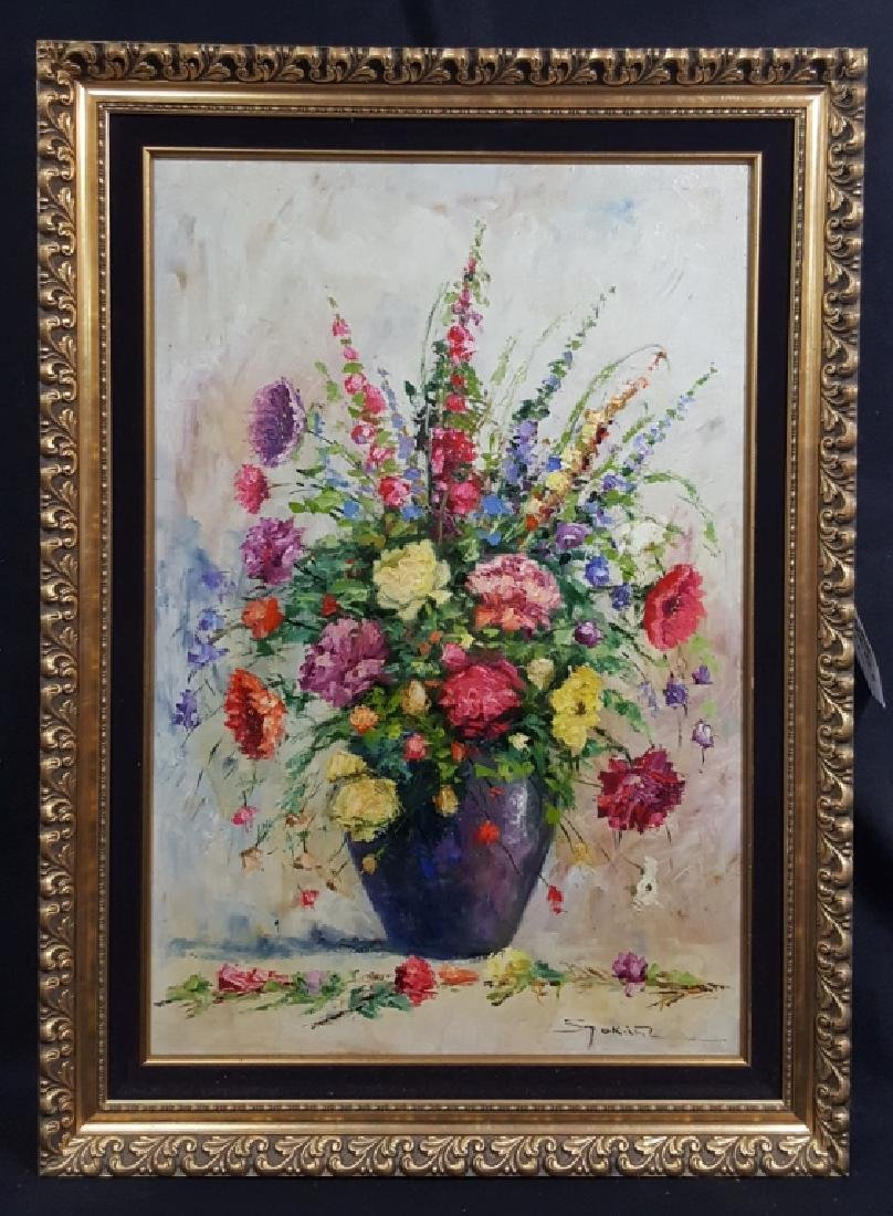 Lajos Szakats Oil on Canvas Floral Painting