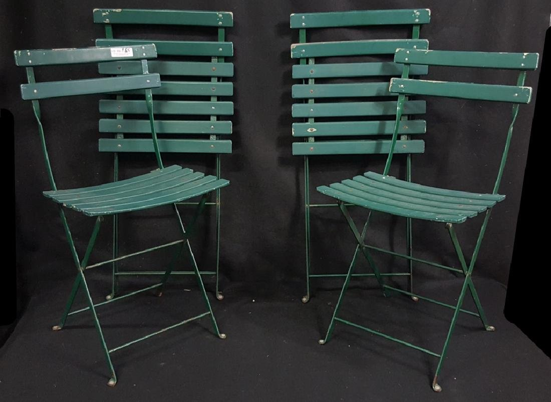 4 Vintage Green French Folding Cafe Chairs