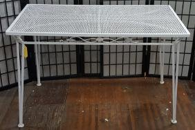 White Wrought Iron Russel Woodard Patio Table