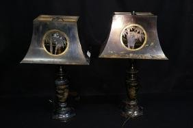 Pair of Chinese desk, table lamps.