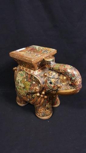 Hand Painted Gold Gilded  Satsuma Elephant seat