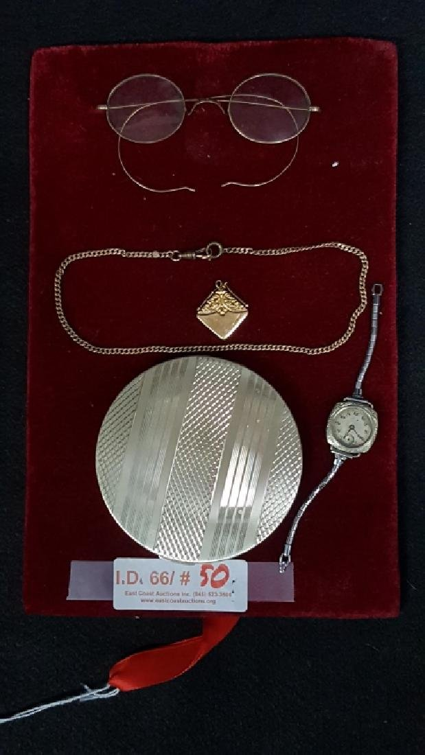 Gold spectacles and other gold plus silver compote