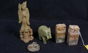 Carved Hard Stone Chine Seals & Statues