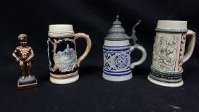 "Collection of German Beer Steins & ""Manneken Pis"""