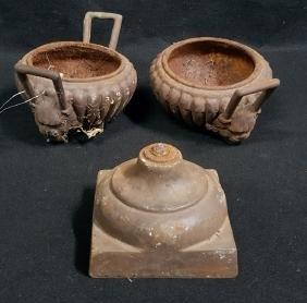 Cast Iron Urn Fragments; Lion Face Handles